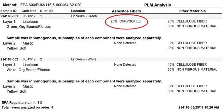 Asbestos lab test result-1